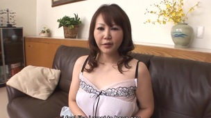 Breasty housewife Waka Kano is wearing her favourite white underware during the time that masturbating in the living room. Her step-son suddenly appears and her massive zeppelins are kneaded and erotically licked up.
