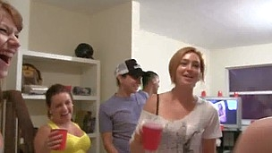 College frat party goes wild with young babes fucking dicks