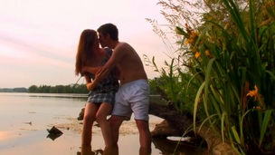 Hawt sex scene is taking place outdoors with a legal age teenager by the pond