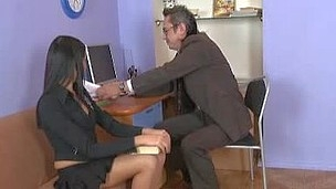 Jenny was in the teacher's office and helped him to pick up the papers, but in a short time that guy took off her pants and screwed her soaked cunt.
