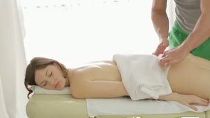 When the pretty angel got nude in the massage salon her one as well as the other holes were massaged and fucked