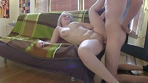 Young blond college student has to share cock with friend