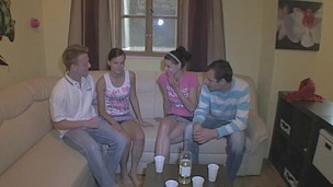A small in number drinks and a pair of desirous legal age teenager girlfriends turn this home party into a foursome fuck fest with two fortunate dudes banging hotties in turns and jointly getting their rods sucked all over the room and giving the honeys multiple cumshots. They want to find out who bonks most excellent and they got the entire night ahead of 'em to complete this hardcore sex competition.