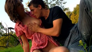 Legal Age Teenager whore with a great pleasure starts doggy-style sex outdoors