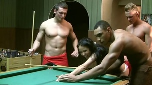 I really like to play billiards in the sauna with my buddies. But it's not that fun if there are no beauties. So we invited our hawt ally Emmy to join us. That Babe only acquiesced to come when I told her there would be other gals... Of course it was a lie. We don't need more than one gal for gang bang movies :) In Any Case, to entice our hawt brunette hair in bikini into dp porn we used a popular trick. We just played a game of billiards, and that babe lost. If u lose, u pay, that's fair. So poor thing..