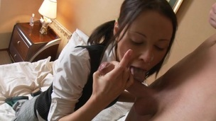 Amateur schoolgirl is getting her pussy fucked roughly deep